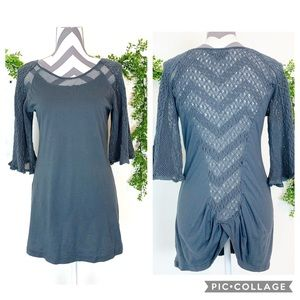 Monoreno knit crocheted detailed tunic blue gray